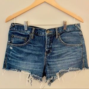Free People Demin Raw Hem distressed Cutoff Shorts